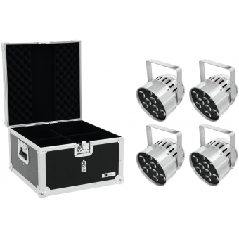 EUROLITE Set 4x LED PAR-56 HCL Short sil + EPS Case
