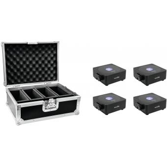 EUROLITE Set 4x AKKU Flat Light 1 black + Case