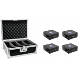 EUROLITE Set 4x AKKU Flat Light 1 black + Case