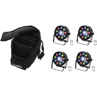 EUROLITE Set 4x LED SLS-9 Hybrid HCL + Soft-Bag