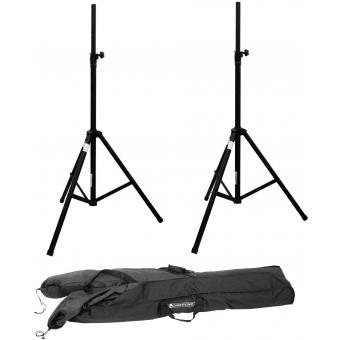 OMNITRONIC Set 2x Speaker system stand alu black + Carrying bag