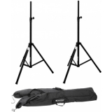 OMNITRONIC Set 2x Speaker system stand alu black + Carrying bag