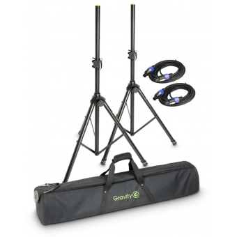 Gravity SS 5211 B SET 2 Set of 2 Speaker Stands with Bag and 2 Standard Speaker Cables, 5 m