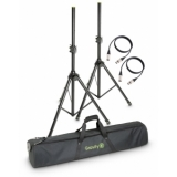 Gravity SS 5211 B SET 3 Set of 2 Speaker Stands with Bag and 2 XLR Cables, 5 m