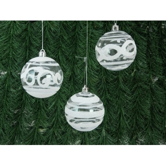 EUROPALMS Deco Ball 7cm, clear, diverse designs 6x #8