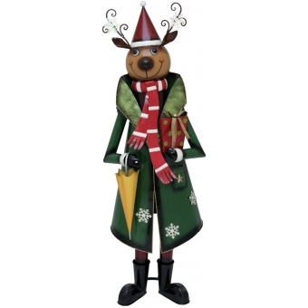 EUROPALMS Reindeer with Coat, Metal, 155cm, green