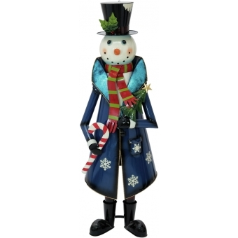 EUROPALMS Snowman with Coat, Metal, 150cm, blue #1