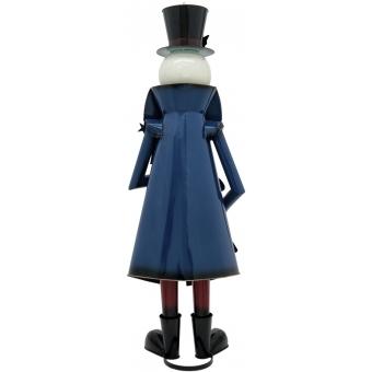 EUROPALMS Snowman with Coat, Metal, 150cm, blue #2