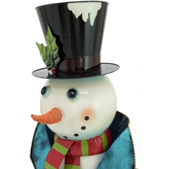 EUROPALMS Snowman with Coat, Metal, 150cm, blue #3
