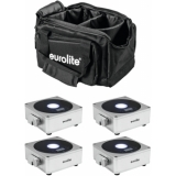 EUROLITE Set 4x AKKU Flat Light 1 silver + Soft-Bag