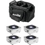 EUROLITE Set 4x AKKU Flat Light 1 silver + Soft-Bag