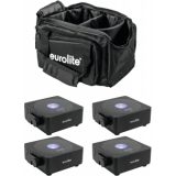 EUROLITE Set 4x AKKU Flat Light 1 black + Soft-Bag