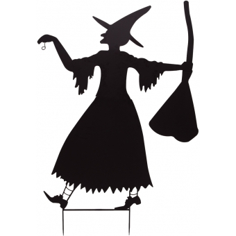 EUROPALMS Slhouette Metal Witch with Broom, 140cm