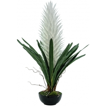 EUROPALMS Magic Bromelie, artificial plant, white, 100cm