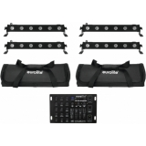 EUROLITE Set 4x LED BAR-6 QCL RGBA + 2x Soft Bag + Controller