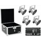 EUROLITE Set 4x LED PAR-56 QCL sil + Case + Controller