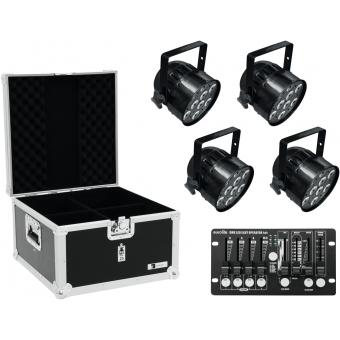 EUROLITE Set 4x LED PAR-56 QCL bk + Case + Controller
