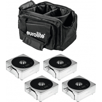 EUROLITE Set 4x AKKU Flat Light 1 chrome + Soft-Bag