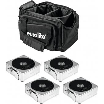 EUROLITE Set 4x AKKU Flat Light 1 chrome + Soft-Bag