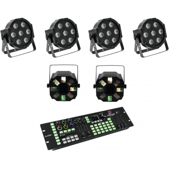 EUROLITE Set 4x LED SLS-7 HCL Floor + 2x LED FE-700 + DMX LED Co