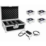 EUROLITE Set 4x AKKU Flat Light 1 silver + Case + Charger