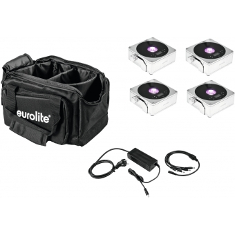 EUROLITE Set 4x AKKU Flat Light 1 chrome + Soft-Bag + Charger