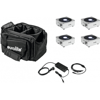 EUROLITE Set 4x AKKU Flat Light 1 silver + Soft-Bag + Charger #1