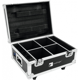 ROADINGER Flightcase 4x AKKU UP-4 QuickDMX with charging functio