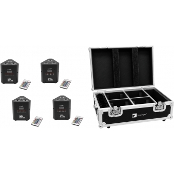 EUROLITE Set 4x AKKU TL-3 TCL QuickDMX + Case with charging func