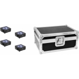 EUROLITE Set 4x AKKU Flat Light 3 bk + Case