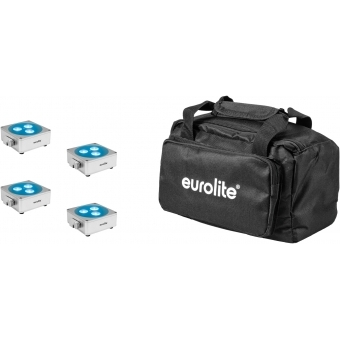 EUROLITE Set 4x AKKU Flat Light 3 sil + Soft-Bag