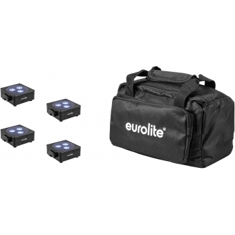 EUROLITE Set 4x AKKU Flat Light 3 bk + Soft-Bag