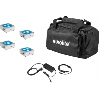 EUROLITE Set 4x AKKU Flat Light 3 sil + Charger + Soft-Bag