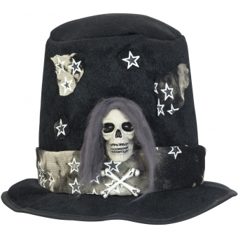 EUROPALMS Halloween Costume Top-Hat with Skull #1