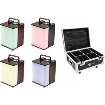 EUROLITE Set 4x AKKU UP-1 Glow QCL + Case