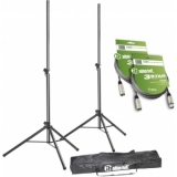 Adam Hall Stands SPS 023 SET 3 Set of 2 Speaker Stands with Bag and 2 XLR Cables