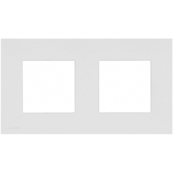 CF45DH/W - Cover frame double 45 x 45 mm with hooks - White version