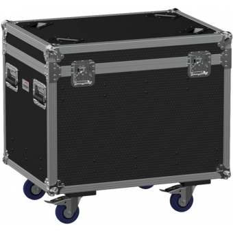 FCE086HD/B - Flightcase EURO with hinged cover and divider profile - Wheels included - Black