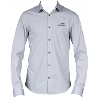 PROMO4122 - CAYMON promotion shirt grey with embroidered logo - Medium