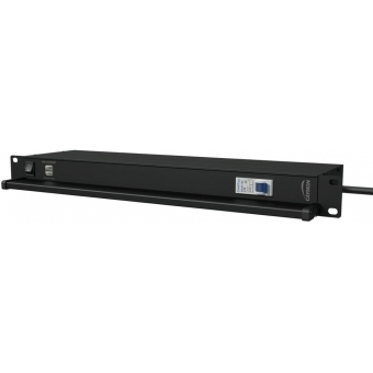 "PSR419G/B - 19"" power distribution - 9x German sockets - Light/USB/Fuse - Black"
