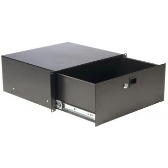 "RD412L/B - 19"" rack drawer - 4 unit with key lock  - Black Steel"