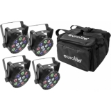 EUROLITE Set 4x AKKU Mini PARty RGBW Spot + Soft-Bag