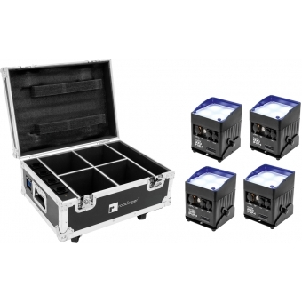 EUROLITE Set 4x AKKU IP UP-4 QCL Spot QuickDMX + Flightcase with