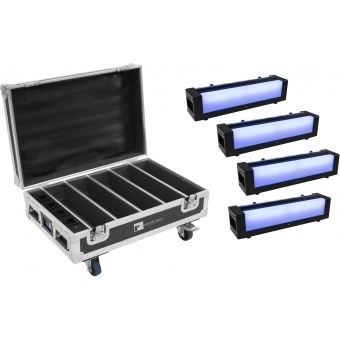 EUROLITE Set 4x AKKU Bar-6 + Flightcase with charging function