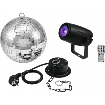 EUROLITE Mirror Ball 20cm with motor + LED PST-5 QCL Spot bk #1