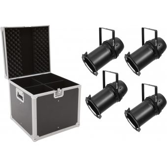 EUROLITE Set 4x LED PAR-64 COB 3000K 100W Zoom bk + Case