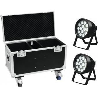 EUROLITE Set 2x LED IP PAR 14x8W QCL + Case with wheels