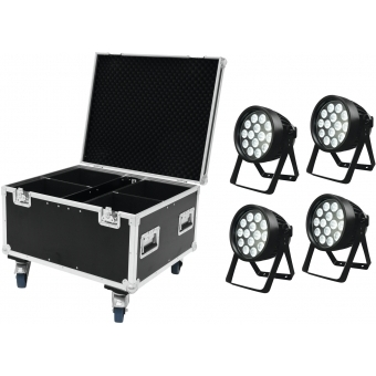 EUROLITE Set 4x LED IP PAR 14x8W QCL + Case #1