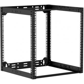 """OPR512A/B - 19"""" in depth adjustable open frame rack - 12 unit - 500 ~ 800mm - Black"""
