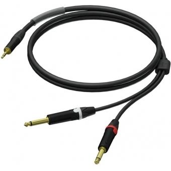PRA713/1.5 - 3.5 mm male stereo - 2 x 6.3 mm Jack male mono - UltraFlex™ - 1.5 meter